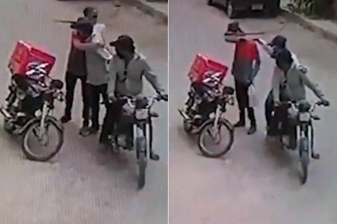 1 - Ladrões se comovem com choro de motoboy e roubo acaba em algo inusitado; veja as imagens