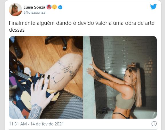 """Captura de Tela 3854 - Vitão faz tatuagem de """"Parte Intima"""" de Luísa Sonza na coxa e cantora reage; Veja Fotos"""