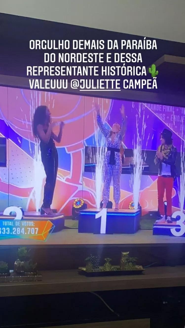 ranniery gomes parabeniza juliette por vitoria no bbb 21 - Depois Juliette ganhar o BBB21, ex-namorado 'manda recado' para ela e o que diz choca web; Veja